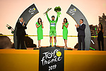 Peter Sagan (SVK) Bora-Hansgrohe wins the points Green Jersey for a record 7th time on the final podium at the end of Stage 21 of the 2019 Tour de France running 128km from Rambouillet to Paris Champs-Elysees, France. 28th July 2019.<br /> Picture: ASO/Pauline Ballet   Cyclefile<br /> All photos usage must carry mandatory copyright credit (© Cyclefile   ASO/Pauline Ballet)
