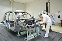 Car production inside the factory of of Honda Automobile (China) Co. Ltd. in Guangzhou, China. Guangzhou Honda Automobile Co., Ltd. was established on 1, July 1998, joint-ventured between Guangzhou Automobile Group and Honda Motor Co. Ltd.