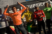 Greg Long celebrates his victory on stage during the awards ceremony at the 2008 Mavericks Surf Contest in Half Moon Bay, Calif., Saturday, January 12, 2008...Photo by David Calvert/isiphotos.com