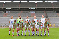 team OHL ( Lenie Onzia (8) of OHL , Goalkeeper Louise Van Den Bergh (1) of OHL , Hannah Eurlings (9) of OHL , Auke Swevers (4) of OHL , Amber Tysiak (3) of OHL and Zenia Mertens (6) of OHL , Jill Janssens (7) of OHL , Luna Vanzeir (10) of OHL , Estee Cattoor (11) of OHL , Marie Detruyer (17) of OHL , Marith Debondt (31) of OHL ) pictured before a female soccer game between RSC Anderlecht Dames and Oud Heverlee Leuven on the seventh matchday of play off 1 of the 2020 - 2021 season of Belgian Womens Super League , saturday 15 th of May 2021  in Brussels , Belgium . PHOTO SPORTPIX.BE | SPP | STIJN AUDOOREN