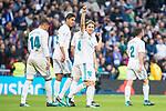 Real Madrid Carlos Henrique Casemiro, Raphael Varane, Luka Modric and Daniel Carvajal celebrating a goal during La Liga match between Real Madrid and R. C. Deportivo at Santiago Bernabeu Stadium in Madrid, Spain. January 18, 2018. (ALTERPHOTOS/Borja B.Hojas)