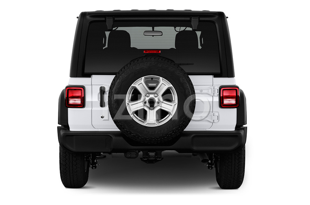 Straight rear view of a 2020 Jeep Wrangler Unlimited Sport 5 Door SUV stock images