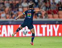 HOUSTON, TX - JUNE 13: Carli Lloyd #10 of the USWNT takes a shot during a game between Jamaica and USWNT at BBVA Stadium on June 13, 2021 in Houston, Texas.