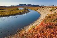Sagavanirktok river and the Brooks Range mountains, Arctic, Alaska.