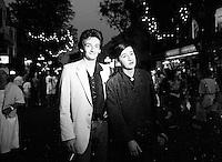 Montreal (qc) CANADA - file Photo - 1991 - <br /> <br /> <br />  - Festival Juste Pour Rire 1991 - Valerie Lemercier (R) and Pierre Palmade (L)