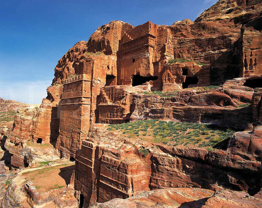 Rock-tombs carved in the rock-walls of Petra, Jorda