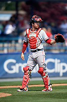 Portland Sea Dogs catcher Austin Rei (28) during the first game of a doubleheader against the Reading Fightin Phils on May 15, 2018 at FirstEnergy Stadium in Reading, Pennsylvania.  Portland defeated Reading 8-4.  (Mike Janes/Four Seam Images)