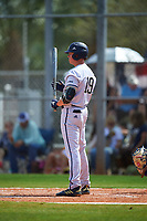 FIU Panthers first baseman Seth Cannady (19) bats during a game against the South Dakota State Jackrabbits on February 23, 2019 at North Charlotte Regional Park in Port Charlotte, Florida.  South Dakota defeated FIU 4-3.  (Mike Janes/Four Seam Images)