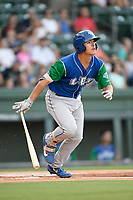 First baseman Nick Pratto (30) of the Lexington Legends follows through on a swing during a game against the Greenville Drive on Saturday, September 1, 2018, at Fluor Field at the West End in Greenville, South Carolina. Greenville won, 9-6. (Tom Priddy/Four Seam Images)