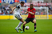 Saturday 17 August 2013<br /> <br /> Pictured: Angel Rangel of Swansea<br /> <br /> Re: Barclays Premier League Swansea City v Manchester United at the Liberty Stadium, Swansea, Wales