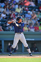Shortstop Milton Ramos (7) of the Columbia Fireflies bats in a game against the Greenville Drive on Sunday, May 8, 2016, at Fluor Field at the West End in Greenville, South Carolina. Greenville won, 5-4. (Tom Priddy/Four Seam Images)