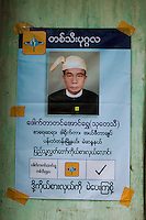 An election poster for an independent candidate posted on a wall in Rangoon (Yangon)  ahead of Burma's first multi-party elections since 1990. However, the main pro-democracy party, the NLD (National League for Democracy), boycotted the poll and other opposition groups have alleged widespread voting fraud.