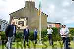 Marking the Listowel Police Mutiny were Eamonn Walsh.Knocknagoshel, grandson of Patrick Sheeran one of the mutineers, Jimmy Deenihan, Historian Thomas Dillon. archivest  Vincent Carmody & Cara Trant, manager Kerry Writers Museum pictured at Listowel Garda Station on Friday last.