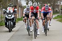 Kasper Asgreen (DEN/Deceuninck - Quick Step) with Mathieu Van der Poel (NED/Alpecin-Fenix) & Julian Alaphilippe (FRA/Deceuninck - QuickStep) > who is riding alongside the motor-pilot he bumped/crashed into only 6 months earlier (in the previous edition of De Ronde)<br /> <br /> 105th Ronde van Vlaanderen 2021 (MEN1.UWT)<br /> <br /> 1 day race from Antwerp to Oudenaarde (BEL/264km) <br /> <br /> ©kramon