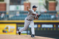 Scranton/Wilkes-Barre RailRiders starting pitcher Brody Koerner (90) delivers a pitch to the plate against the Charlotte Knights at BB&T BallPark on August 14, 2019 in Charlotte, North Carolina. The Knights defeated the RailRiders 13-12 in ten innings. (Brian Westerholt/Four Seam Images)