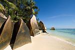 Seychelles, Island La Digue, Anse Source d'Argent: famous beach with granite rocks<br />