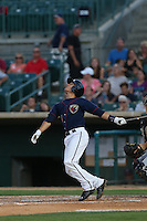 Mott Hyde (3) of the Lancaster JetHawks bats during a game against the Bakersfield Blaze at The Hanger on August 5, 2015 in Lancaster, California. Bakersfield defeated Lancaster, 12-5. (Larry Goren/Four Seam Images)