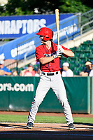 Jonah Todd (18) of the Orem Owlz bats against the Ogden Raptors in Pioneer League action at Lindquist Field on June 22, 2017 in Ogden, Utah. The Owlz defeated the Raptors 13-8.  (Stephen Smith/Four Seam Images)