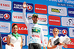 Turkish Beauties Jersey leader Luis Mas Bonet (ESP) Caja Rural-Seguros RGA on the podium at the end of Stage 5 of the 2015 Presidential Tour of Turkey running 159.9km from Mugla to Pamukkale. 30th April 2015.<br /> Photo: Tour of Turkey/Mario Stiehl/www.newsfile.ie
