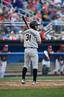 Tri-City ValleyCats third baseman Abraham Toro-Hernandez (31) at bat during a game against the Batavia Muckdogs on July 14, 2017 at Dwyer Stadium in Batavia, New York.  Batavia defeated Tri-City 8-4.  (Mike Janes/Four Seam Images)