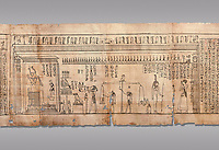 Ancient Egyptian Book of the Dead papyrus - Spell 126 - what to say in the judgement before Osiris, Iufankh's Book of the Dead, Ptolemaic period (332-30BC).Turin Egyptian Museum. Grey Background<br /> <br /> <br /> Spell 125 instruct the deceased as to waht to say infront of Osiris and the Forty Two Judges in the Hall of Two Maat, the netherworlds Judgement Hall. <br /> <br /> The translation of  Iuefankh's Book of the Dead papyrus by Richard Lepsius marked a truning point in the studies of ancient Egyptian funereal studies.