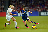 ORLANDO, FL - MARCH 05: Carli Lloyd #10 of the United States turns and moves with the ball during a game between England and USWNT at Exploria Stadium on March 05, 2020 in Orlando, Florida.