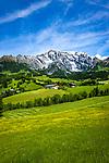 Austria, Salzburger Land, Pinzgau, farmhouses near Dienten with Hochkoenig mountains   Oesterreich, Salzburger Land, Pinzgau, Bauernhoefe bei Dienten vorm Hochkoenig (2.941 m)