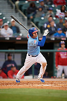 Buffalo Bisons left fielder Jake Elmore (20) bats during a game against the Pawtucket Red Sox on May 19, 2017 at Coca-Cola Field in Buffalo, New York.  Buffalo defeated Pawtucket 7-5 in thirteen innings.  (Mike Janes/Four Seam Images)
