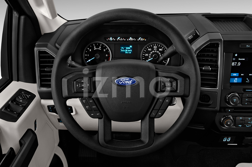 Car pictures of steering wheel view of a 2018 Ford F-150 XLT SuperCab 6-1/2 Box 2 Door Pick Up