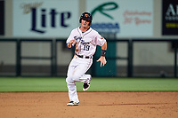 Lakeland Flying Tigers catcher Austin Athmann (19) running the bases during a Florida State League game against the Tampa Tarpons on April 5, 2019 at Publix Field at Joker Marchant Stadium in Lakeland, Florida.  Lakeland defeated Tampa 5-3.  (Mike Janes/Four Seam Images)