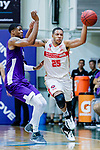 Brim Marlowe Antwaun #25 of Nam Ching Basketball Team fight for the ball with Eric Javarin Ferguson #3 of HKPA during the Hong Kong Basketball League game between Nam Ching and  HKPA at Southorn Stadium on June 12, 2018 in Hong Kong. Photo by Yu Chun Christopher Wong / Power Sport Images