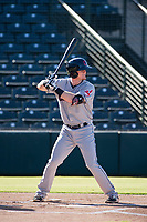 AZL Indians first baseman Mitch Reeves (23) bats during a game against the AZL Angels on August 7, 2017 at Tempe Diablo Stadium in Tempe, Arizona. AZL Indians defeated the AZL Angels 5-3. (Zachary Lucy/Four Seam Images)