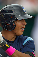 Corpus Christi Hooks shortstop Carlos Correa (1) on deck during the Texas League baseball game against the San Antonio Missions on May 10, 2015 at Nelson Wolff Stadium in San Antonio, Texas. The Missions defeated the Hooks 6-5. (Andrew Woolley/Four Seam Images)