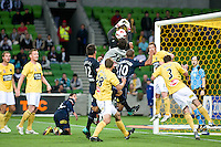 MELBOURNE, AUSTRALIA - NOVEMBER 18: Mathew Ryan of the Mariners attempts to catch the ball during the round 14 A-League match between the Melbourne Victory and Central Coast Mariners at AAMI Park on November 18, 2010 in Melbourne, Australia (Photo by Sydney Low / Asterisk Images)