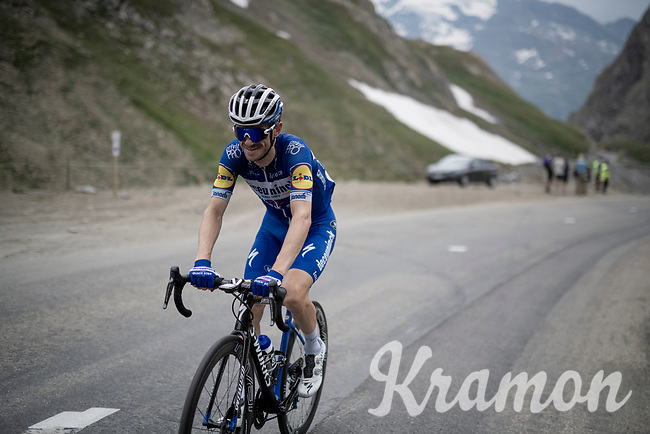 Dries Devenyns (BEL/Deceuninck - QuickStep) up the Col de l'Iseran (HC/2751m/13km@7.3%) <br /> > where the race was eventually stopped (at the top) because of landslides further up the road (after a severe hail storm in Tignes)<br /> <br /> Stage 19: Saint-Jean-de-Maurienne to Tignes (126km)<br /> 106th Tour de France 2019 (2.UWT)<br /> <br /> ©kramon