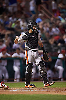 Aberdeen IronBirds catcher Alfredo Gonzalez (19) during a game against the Tri-City ValleyCats on August 27, 2018 at Joseph L. Bruno Stadium in Troy, New York.  Aberdeen defeated Tri-City 11-5.  (Mike Janes/Four Seam Images)