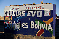 La Paz Bolivia<br /> A picture dated August 10, 2008 shows a wall with a picture of Bolivian President Evo Morales in a small town in the Bolivian Altiplano.