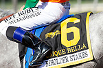 ARCADIA, CA  JUNE 2: #6 Unique Bella, ridden by Mike Smith, saddle towel after winning the Beholder Mile (Grade l) on June 2, 2018 at Santa Anita Park in Arcadia, CA. (Photo by Casey Phillips/Eclipse Sportswire/Getty Images)