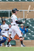 Salt River Rafters left fielder Brian Miller (10), of the Miami Marlins organization, at bat during an Arizona Fall League game against the Surprise Saguaros at Salt River Fields at Talking Stick on October 23, 2018 in Scottsdale, Arizona. Salt River defeated Surprise 7-5 . (Zachary Lucy/Four Seam Images)