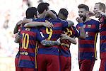 FC Barcelona's players celebrate goal during La Liga match. May 14,2016. (ALTERPHOTOS/Acero)