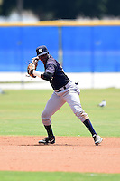 GCL Yankees 2 second baseman Junior Valera (92) throws to first during a game against the GCL Blue Jays on July 2, 2014 at the Bobby Mattick Complex in Dunedin, Florida.  GCL Yankees 2 defeated GCL Blue Jays 9-6.  (Mike Janes/Four Seam Images)