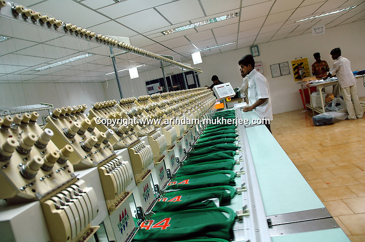Tajima 620 machine at work at Prime Tex embroidery making  factory in Tirupur, Tamilnadu. After lifting of quota system in textile export on 1st january 2005. Tirupur has become the biggest foreign currency earning town of India.