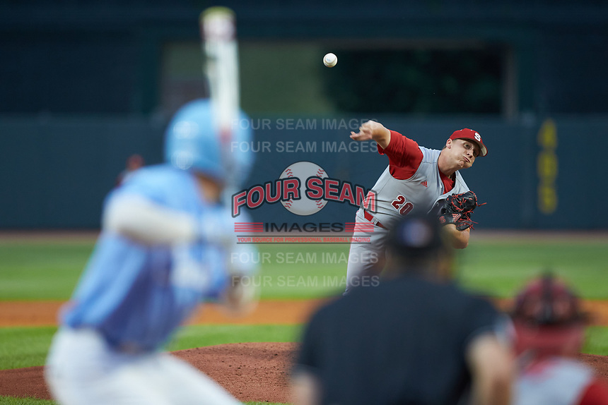 North Carolina State Wolfpack relief pitcher Austin Staley (20) in action against the North Carolina Tar Heels in Game Twelve of the 2017 ACC Baseball Championship at Louisville Slugger Field on May 26, 2017 in Louisville, Kentucky. The Tar Heels defeated the Wolfpack 12-4. (Brian Westerholt/Four Seam Images)