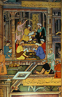 "Mughal India:  ""Maanuscript Atelier"" c. 1590-1595.  Paper-maker, binder, gilder, scribes..  ABKAR'S INDIA, p. 59."