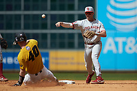 Conor McKenna (5) of the Oklahoma Sooners turns a double play as Peter Zimmermann (40) of the Missouri Tigers slides into second base in game four of the 2020 Shriners Hospitals for Children College Classic at Minute Maid Park on February 29, 2020 in Houston, Texas. The Tigers defeated the Sooners 8-7. (Brian Westerholt/Four Seam Images)