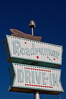 Old sign for the Roadrunner Drive-in, long closed after the interstate bypassed the town of Vega Texas.