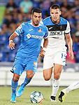 Getafe CF's Angel Rodriguez (l) and Atalanta BC's Berat Djimsiti during friendly match. August 10,2019. (ALTERPHOTOS/Acero)