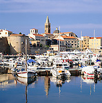 Italy, Sardinia, Alghero: View of Town and Harbour | Italien, Sardinien, Alghero: Hafen
