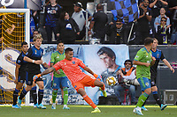 SAN JOSE, CA - SEPTEMBER 30: Daniel Vega #17 of the San Jose Earthquakes during a Major League Soccer (MLS) match between the San Jose Earthquakes and the Seattle Sounders on September 30, 2019 at Avaya Stadium in San Jose, California.