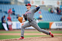 Lehigh Valley IronPigs relief pitcher Brandon Leibrandt (37) delivers a pitch during a game against the Syracuse Chiefs on May 20, 2018 at NBT Bank Stadium in Syracuse, New York.  Lehigh Valley defeated Syracuse 5-2.  (Mike Janes/Four Seam Images)